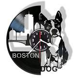 Boston Terrier vinyl wall clock - unique home decor - great gift for someone special for you - beautiful idea for a kids room interior