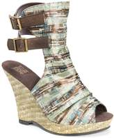 MUK LUKS Sage Peep Toe Wedge Sandal(Women's) -Denim Blue Polyester Best Prices For Sale BI7sq