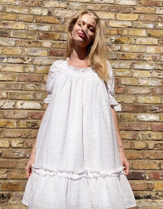 And other stories & cotton smocked trapeze dress in white