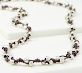 Uno de 50 UNOde50 Silvertone Corded Cotton Necklace -Thorned Heart