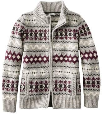 L.L. Bean Women's Bean's Classic Ragg Wool Sweater, Zip Cardigan Vintage Fair Isle