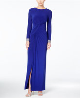 Vince Camuto Long-Sleeve Embellished Faux-Wrap Gown