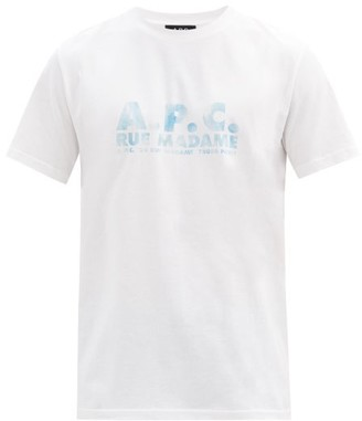 A.P.C. Bobby Logo-print Cotton-jersey T-shirt - Blue White