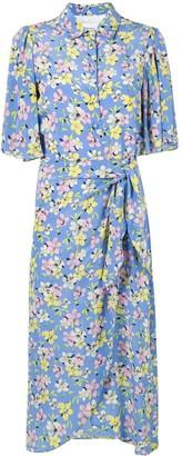 Les Rêveries Floral-Print Silk Wrap Shirt Dress