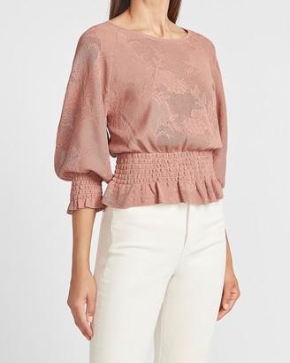 Express Lace Stitched Smocked Peplum Sweater