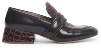 Chloé Cheryl Block-Heel Leather Loafers