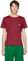 Gucci Red and Navy Disney Edition Linen Striped T-Shirt