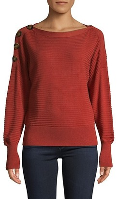 Laundry by Shelli Segal Ribbed Puff-Sleeve Sweater