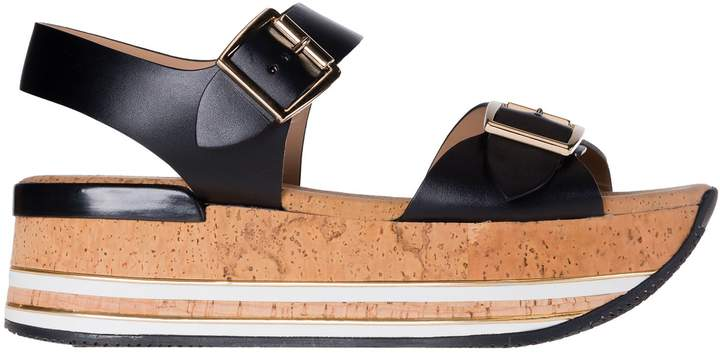 Hogan Buckle Platform Wedge Sandals