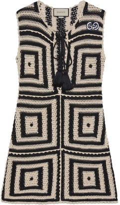 Gucci Crochet-Knit Short Dress