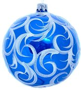Wise Elk Christmas Ornament Glass Ball Hand Blown Hand Painted Blue Frost, Blue 4""