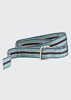 Beams Men's Striped Grosgrain Double-Ring Belt