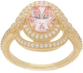 Judith Ripka Sterling or 14K Clad Diamonique & Simulated Morganite Ring