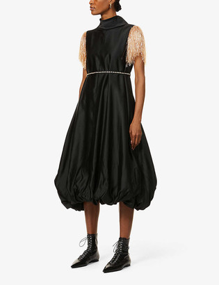 J.W.Anderson Capped-sleeve fringed-trim satin-crepe maxi dress