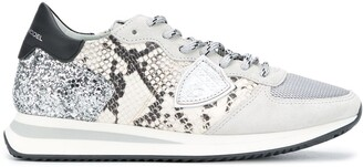 Philippe Model Paris Python-Effect Low-Top Sneakers