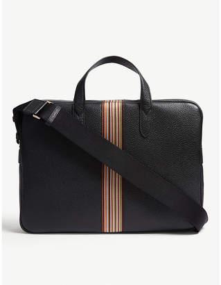 Paul Smith Multi-stripe grained leather briefcase