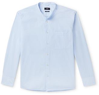 HUGO BOSS Frans Grandad-Collar Striped Cotton-Seersucker Shirt
