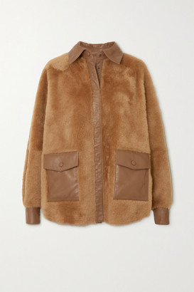 REMAIN Birger Christensen Beiru Leather-trimmed Shearling Jacket - Brown