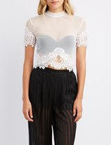 Charlotte Russe Lace-Trim Mock Neck Crop Top