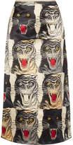 Gucci Printed Silk-charmeuse Midi Skirt - Ivory