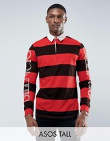 Asos TALL Relaxed Long Sleeve Rugby Polo With Block Stripe & Sleeve Print