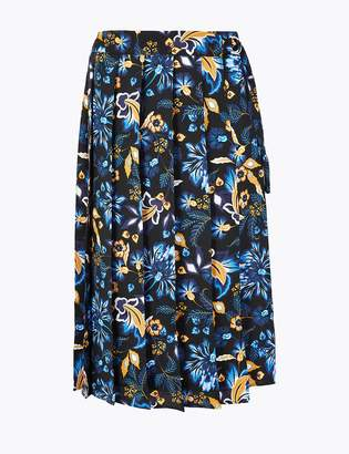 M&S CollectionMarks and Spencer Floral Pleated Wrap Midi Skirt