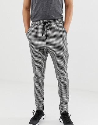 Fairplay Bugsy trousers with elasticated waist and zip cuff in check-Grey