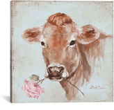 iCanvas French Farmhouse Series: Cow With Rose Canvas Art