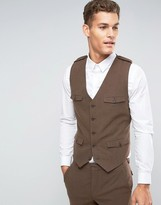 Asos Skinny Vest In Brown With Military Styling