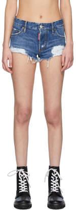 DSQUARED2 Blue Denim Harley Beach Wash Shorts