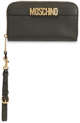 Moschino Logo-embellished Pebbled-leather Wallet