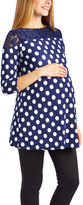 Glam Navy & White Polka Dot Lace-Yoke Maternity Tunic
