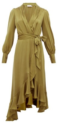 Zimmermann Super Eight Silk Wrap Midi Dress - Khaki