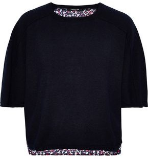 Derek Lam Floral-print Crepe-paneled Cashmere And Silk-blend Sweater