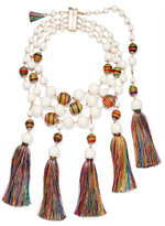 Rosantica Arlecchino Convertible Tasseled Beaded Gold-tone Necklace - White