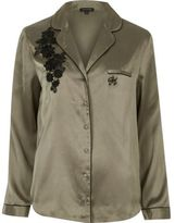 River Island Womens Khaki embroidered pyjama shirt
