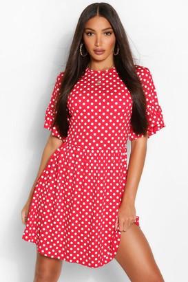 boohoo Tall Polka Dot Smock Dress