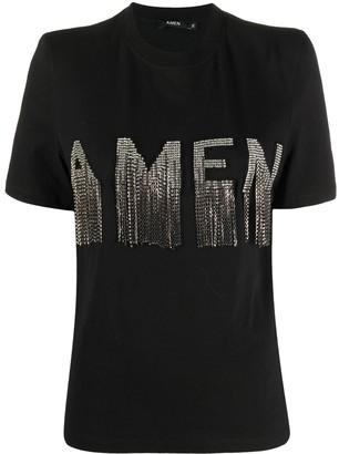 Amen logo stud-fringed T-shirt