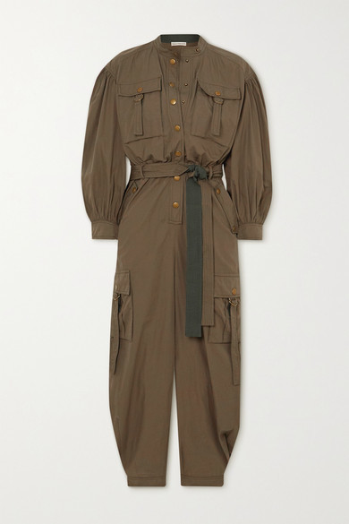 Ulla Johnson Reverie Belted Cotton Jumpsuit - Army green