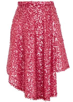 Walk of Shame Fuchsia sequin mini skirt