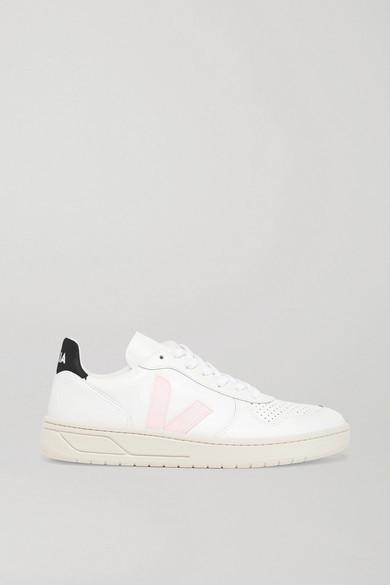 Veja + Net Sustain V-10 Leather Sneakers - White