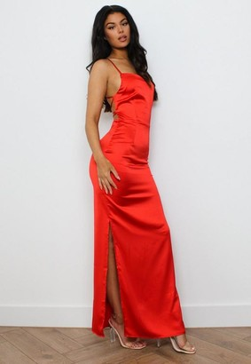 Missguided Red Satin Strappy Back Maxi Dress