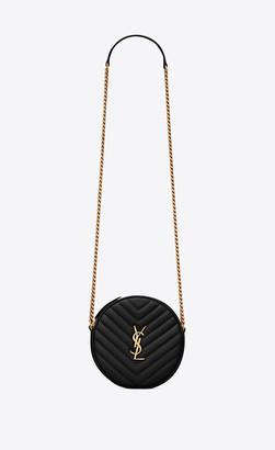 Saint Laurent Vinyle Round Camera Bag In Chevron-quilted Grain De Poudre Embossed Leather Black Onesize