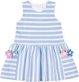 Florence Eiseman Girl's Stripe Pique Knit Dress w/ Flower Appliques, Size 2-6X