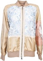 N°21 Macrame Lace Bomber Jacket From Beige Macrame Lace Bomber Jacket With Front Zip Fastening, Embroidered Details, Long Sleeves, A Ribbed Collar, C