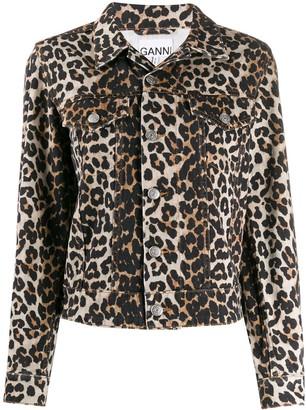 Ganni leopard denim jacket