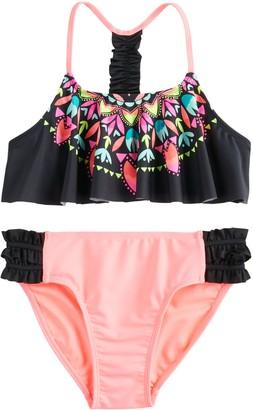 So Girls 7-16 Flounce Floral Bikini and Bottoms Swimsuit Set