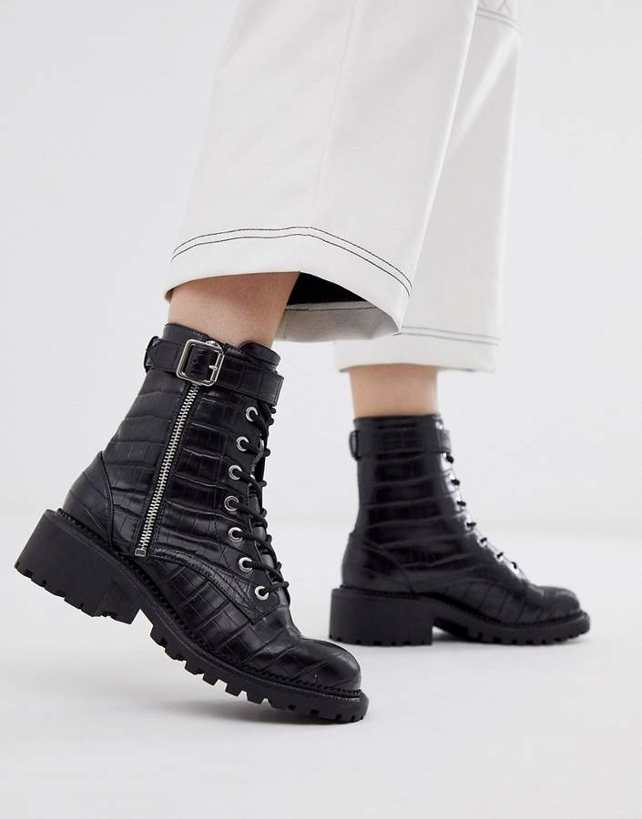a9c138c420c Design DESIGN Anya hardware lace up boots in black croc