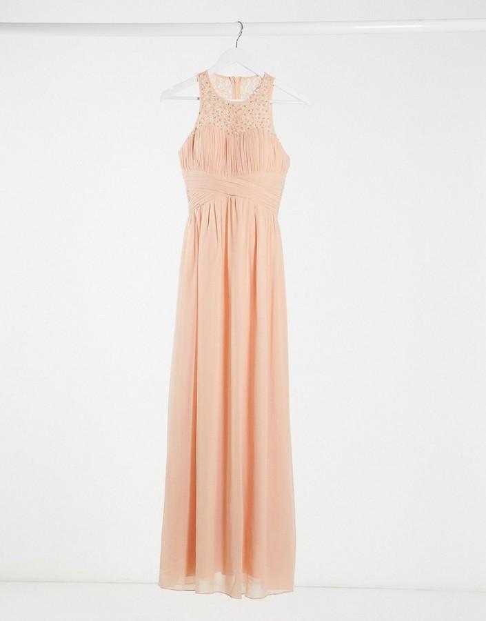 Little Mistress bridesmaid lace detail maxi dress in peach