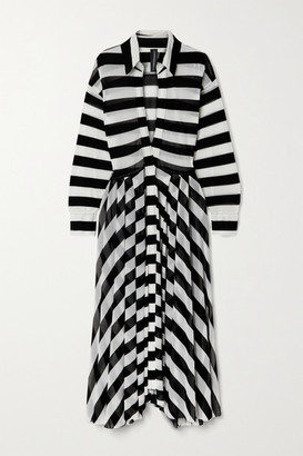 Norma Kamali Striped Stretch-tulle Maxi Dress - Black